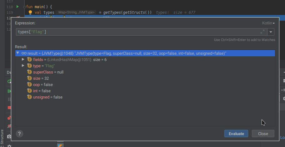 A screenshot of IntelliJ IDEA's debugger, showing information about the Flag type
